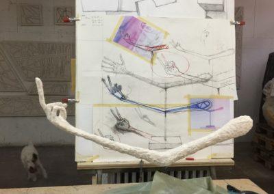Pour Johnatan Monk: Modèle pour un moule en vue d'une sculpture en bronze.