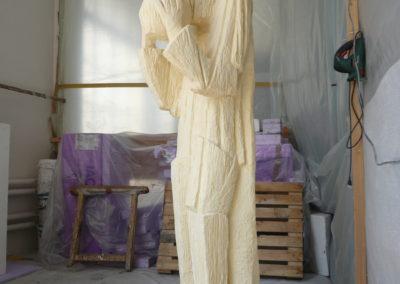 Pour Valentin Carron: réplique de sculpture, bois.